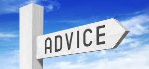 Advice - white wooden sign