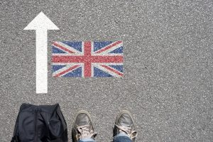 British Flag with feet and arrow UKVI