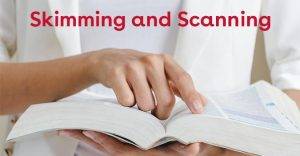 Skimming and Scanning hand on book