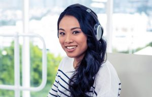 computer-delivered blog girl wearing headphones